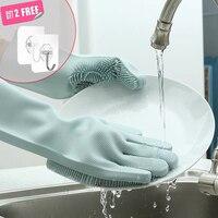 1 пара перчаток для мытья посуды силиконовые перчатки для мытья посуды кухонные силиконовые чистящие бытовые инструменты для чистки автомо...