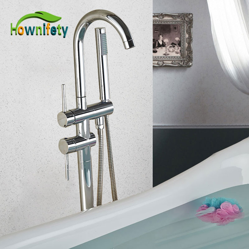 ORB or Chrome Dual Handle Bathroom Tub Hot Cold Mixer Tap Floor ABS Hand Shower Floor
