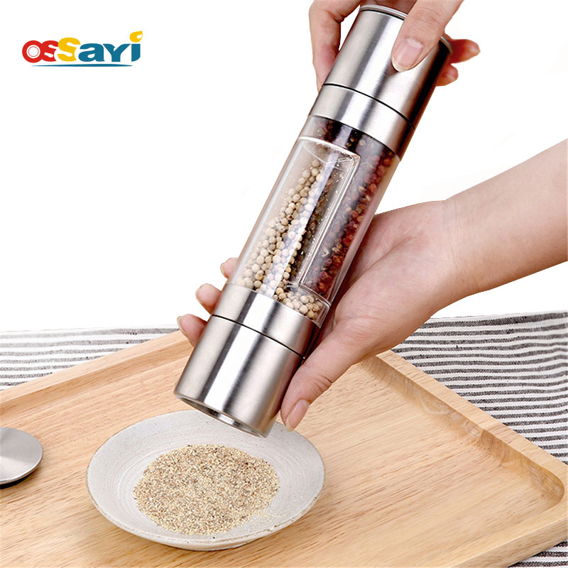 2 In 1 Manual Pepper Salt Spice Mill Grinder Stick Kitchen Tool Stainless Steel Cooking Tools Kitchen Accessaries Pepper Mills