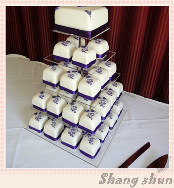 Customized Square 5 Tiers Acrylic Wedding Cake Stand
