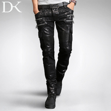 HOT 2016 autumn and winter men brand casual low-waist jeans slim straight trousers denim coating motorcycle costumes trousers