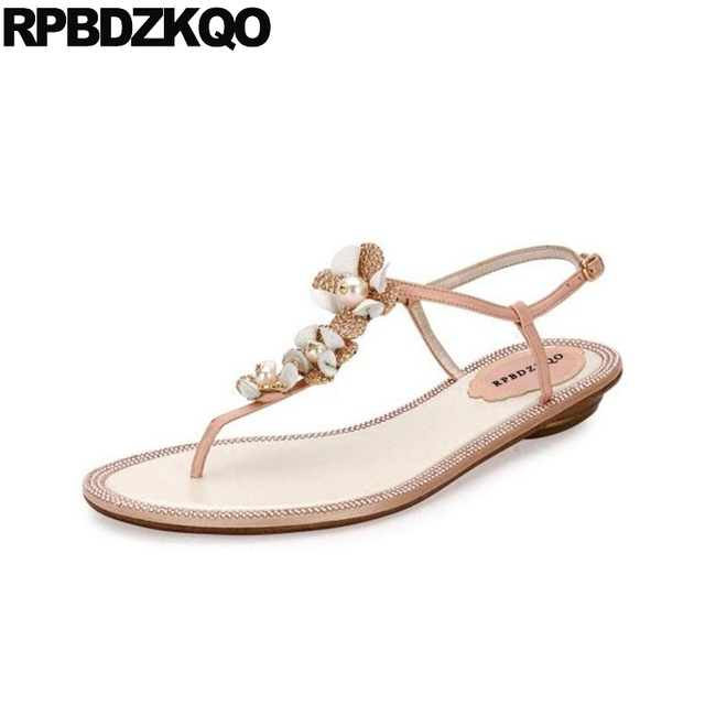 7fa20a1fa1237 Shoes Nude Women Sandals Flat Summer 2018 Thong Flip Flop Diamond Pearl  Flower Crystal Rhinestone Wedding Big Size T Strap