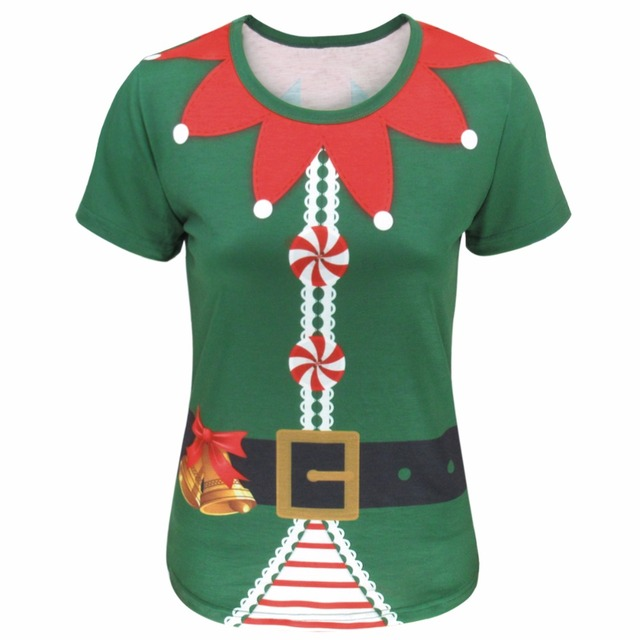 00c7f5728bb Woman Christmas Elf Fairy Cosplay T-shirt Xmas Funny Cos Party 3D Costume  Fancy Top Tee