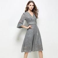 2017 New Spring Summer Dress Women Slim V Neck Black Gray High Waist Sexy Elegant Lace