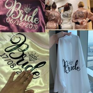Image 3 - Sisbigdey Personalized writing Bride Robe women custom name wedding date Peignoir bridesmaid best gift bridal pink bridal robes
