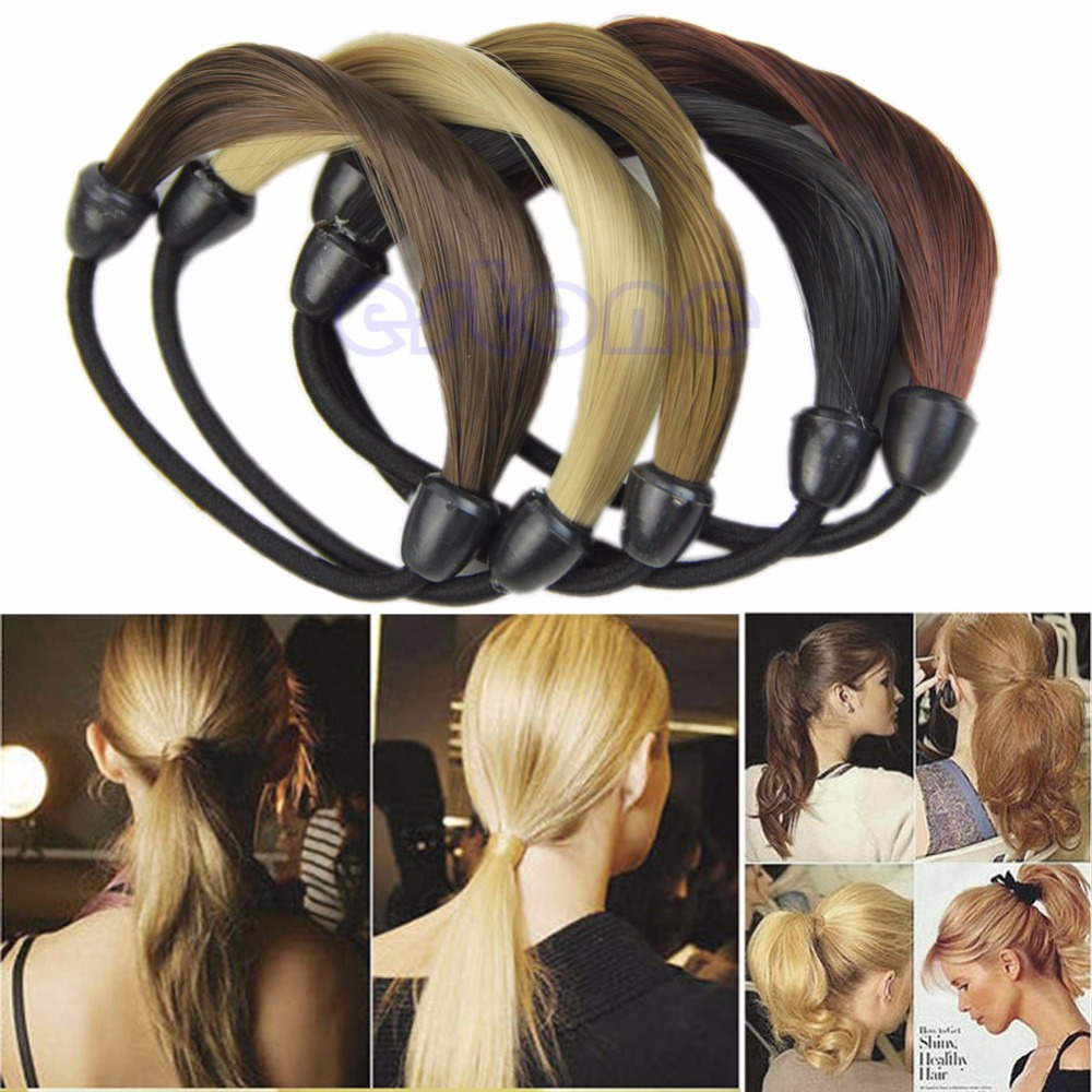 Fashion Women Straight Wig Elastic Hair Band Rope Scrunchie Ponytail Holder gorgeous faux feather elastic hair band for women