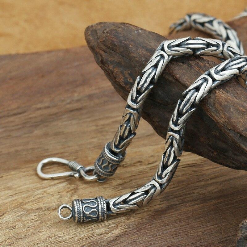 Mode S925 Sterling Silber Retro Thai Silber Vintage Stil Pirate Schiff Männer Und Frauen Personalisierte Frieden Muster Halskette-in Halsketten aus Schmuck und Accessoires bei  Gruppe 1