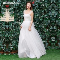 Darlingoddess Real Picture Beach Wedding Dresses 2018 Vestido Noiva Praia Simple Backless White Tulle Sexy China Bridal Gowns
