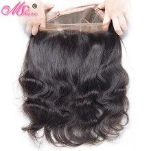 MSHERE 360 синтетический фронтальный с детскими волосами объемная волна человеческие волосы закрытие бразильские Remy волосы предварительно выщипывание полное кружевное фронтальное закрытие