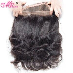 Image 1 - MSHERE 360 синтетический фронтальный с детскими волосами объемная волна человеческие волосы закрытие бразильские Remy волосы предварительно выщипывание полное кружевное фронтальное закрытие