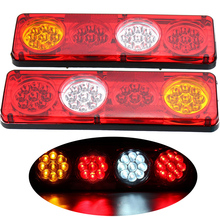 1Pair 36LED Car Rear Tail Lights 12V 24V Truck Trailer Lorry Stop Turn Signal Revese Lamp Red Yellow White