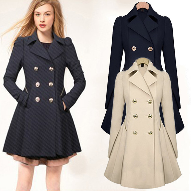 9a6e15623df Women Fall Autumn Trench Coats Notch Lapel Pea Coat Double Breasted  Chesterfield Ruffled Overcoat Button Up Swing Cardigan
