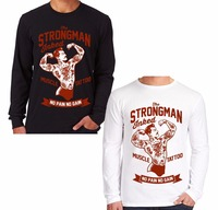 Fashion Tattoo Strongman Men Long Sleeve TShirt Retro Weight Lifter Gym Cotton ONeck Shirts Brand Clothing