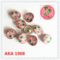2017 hot pic making pink and green ivy 1908 button AKA DIY alloy jewelry greek accessories 18mm with glass 20pcs/lot,ONC025-1