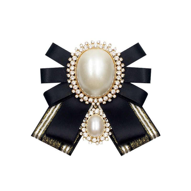 388922f8e3f2a i-Remiel Fashion New Korean Pearl Bow Tie Brooch for Female Ancient  Rhinestone Lapel Pin Badge Corsage Shirt Collar Accessories