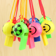 5 Pcs/pack Cute 2 Styles Plastic Whistle With Lanyard For Party Sports Games Noise Maker