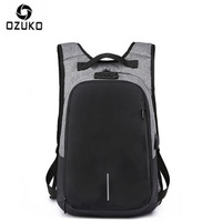 OZUKO Canvas Backpack Men USB Charge Password Lock Anti Theft Three Dimensional Backpack European And American Style Travel Bag
