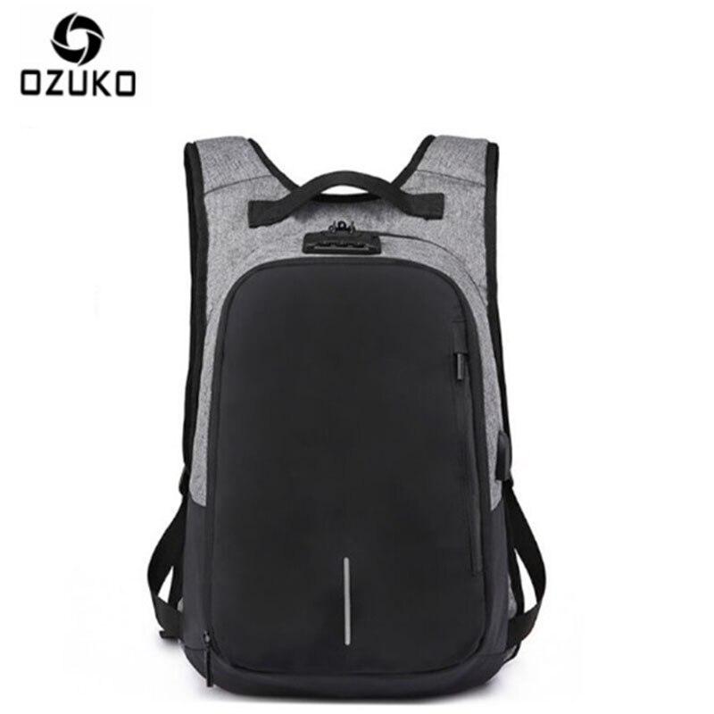 OZUKO toile sac à dos hommes USB Charge mot de passe serrure Anti-vol en trois dimensions sac à dos Style européen et américain sac de voyage