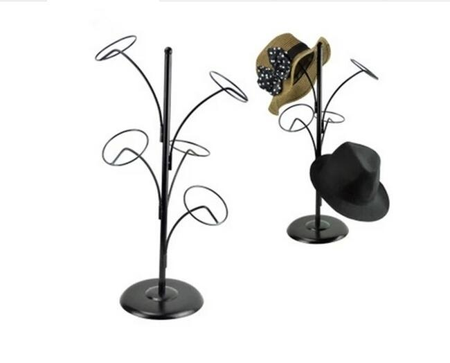 2pcs Multifunction Hat Display Stand Metal Five Rings Cap Holder Fashion Peaked Cap Shelf Beret /sunhat /wig /bags Display Rack