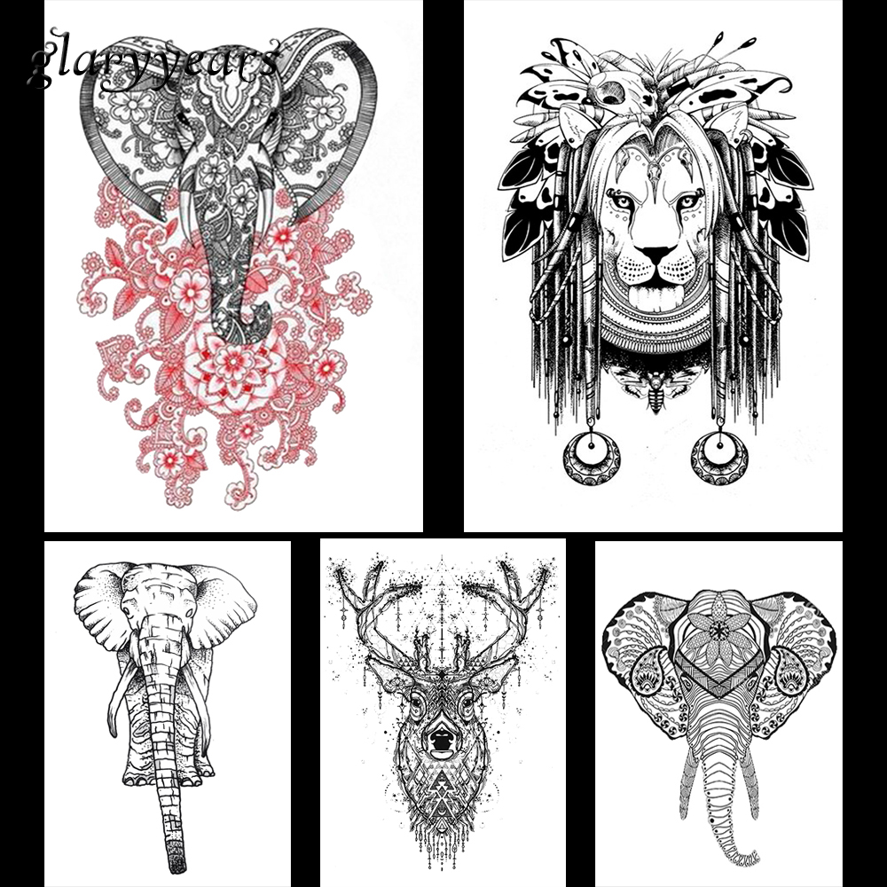 5 Pieces Elephant Lion Pattern Design Tattoo Decal Beauty Women Men Flower Arm Leg Back Body Art Temporary Tattoo Stickers KM#21