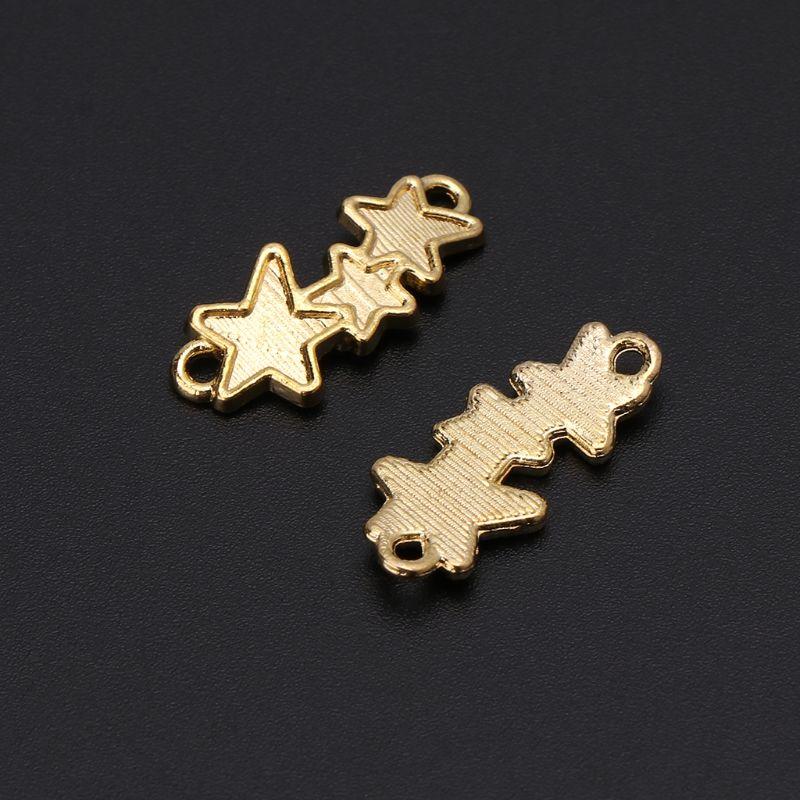 100 шт. инструмент для изготовления эпоксидной формы золотого цвета три звезды двойной крючок нижняя поддержка УФ Клей DIY ювелирные аксессуа...