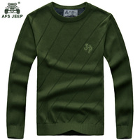 Afs Jeep Solid Color Pullover Men O Neck Sweater Men Long Sleeve Shirt Mens Sweaters Wool