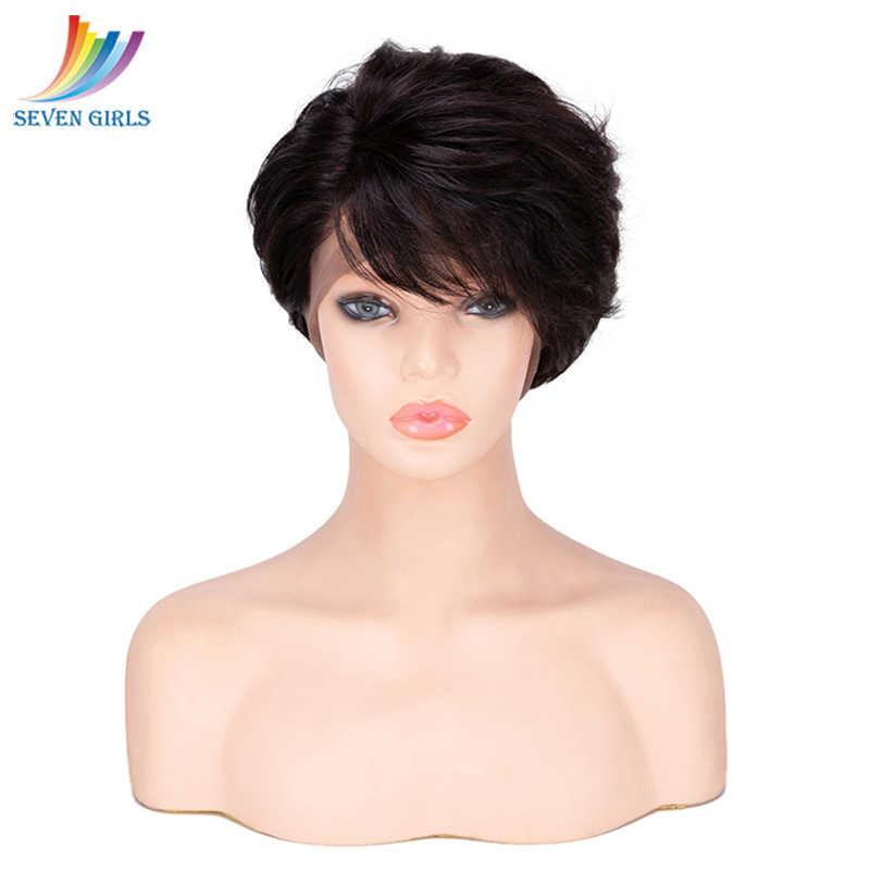 Sevengirls Glueless короткие волны Парики Малайзии природных Цвет Девы человеческих волос Full Lace парики 8-10 дюймов Бесплатная доставка