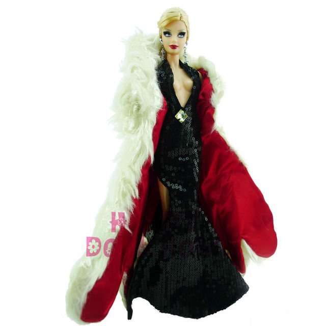Limited Edition Noble Outfit Wedding Evening Party Deep V Halter Dress High Side Slit Gown White Fur Overcoat For Barbie Doll