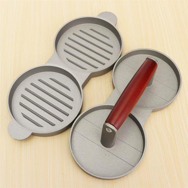 Double hamburger press nonstick cast aluminum with 2 holes