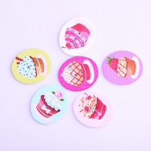 50pcs 26*30mm Mixed Color Cake painted Buttons Sewing Buttons Scrapbooking Wooden Buttons Crafts DIY Sewing Accessories XP0268
