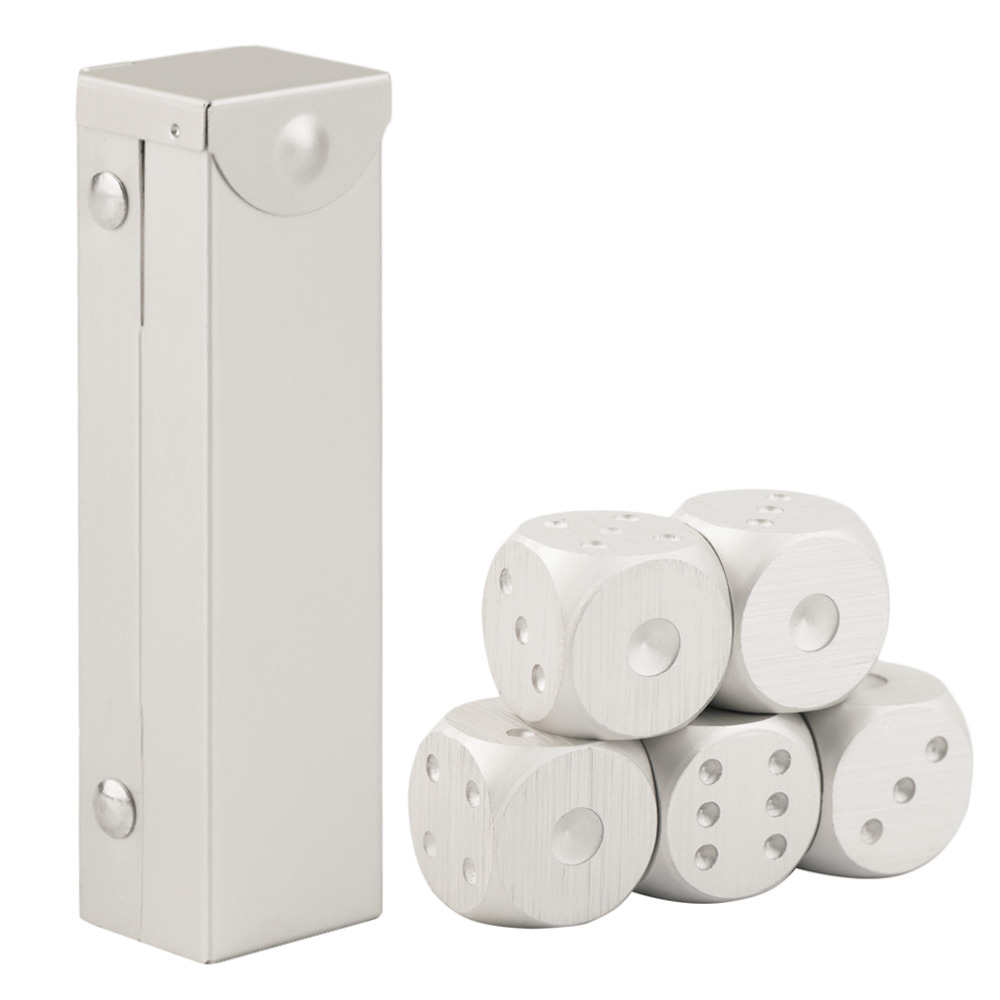 OCDAY 5pcs/set Aluminum Alloy Dice Set Metal Case Gift for Party Home Play Games New