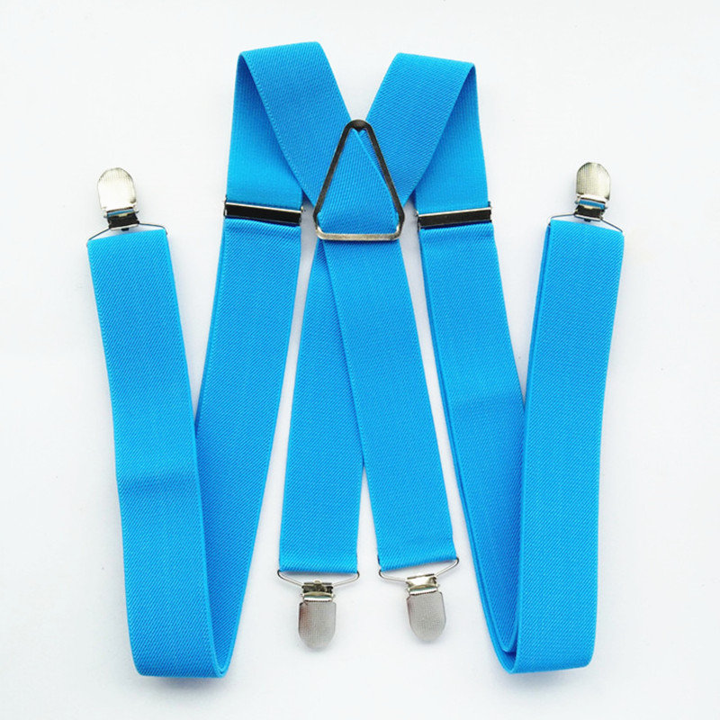 BD054-X-back Suspender Adjustable Elastic Strap Pants Braces For Men Women Boys Girls Fashion Accessories Clips On Light Blue
