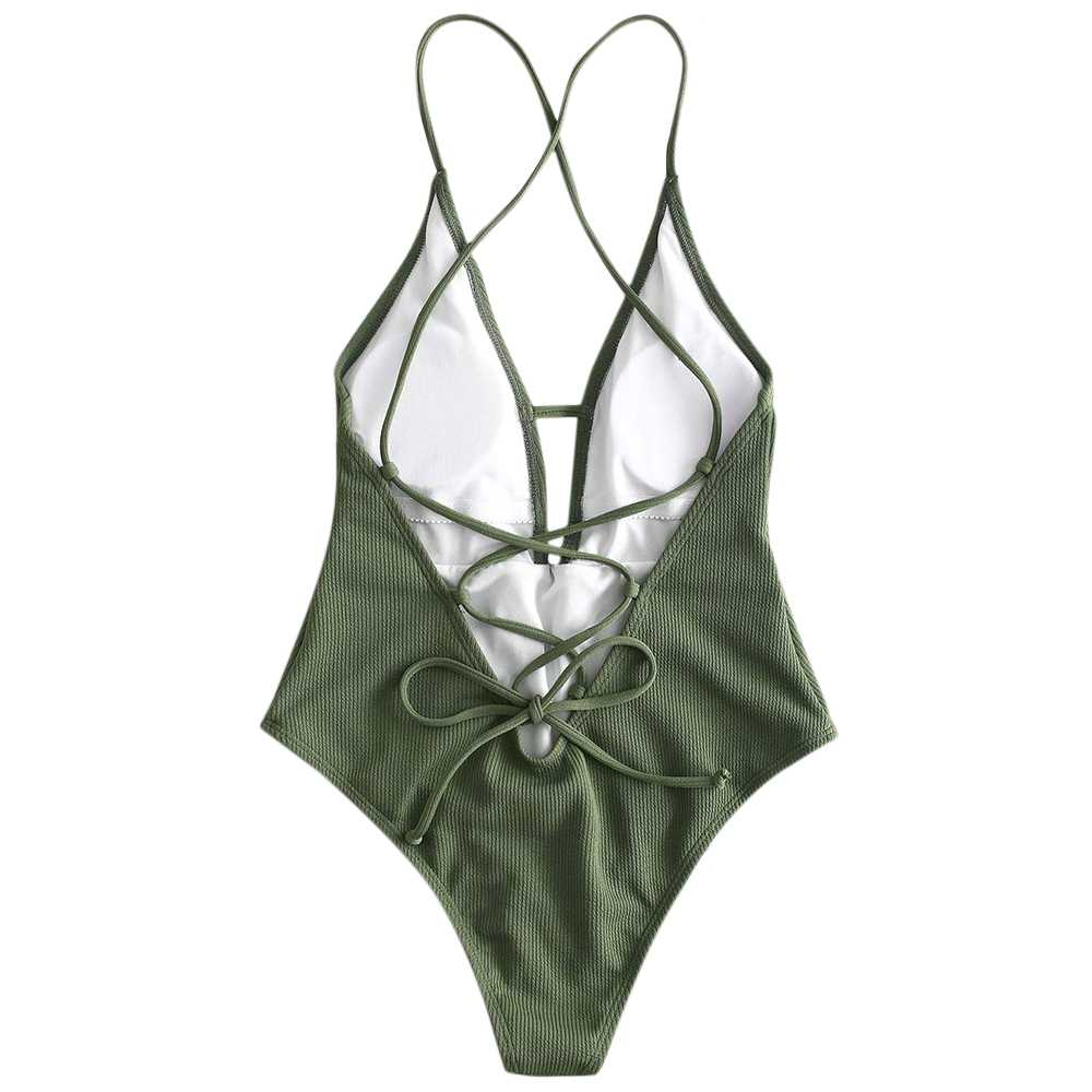 37960b6b9a8 ... Women One Piece Bathing Suits Lace-up Crisscross Ribbed Swimsuit  Bandage Beachwear Bikinis Female Monokini ...