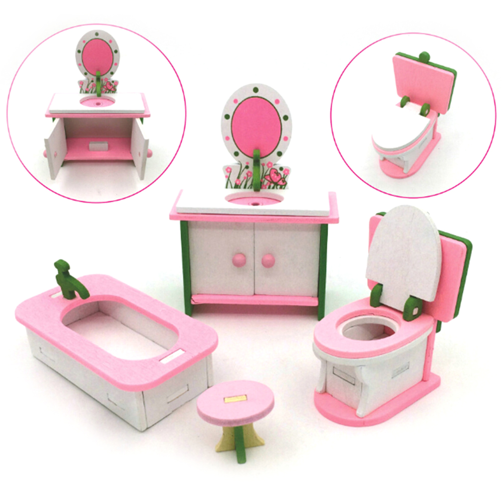 Dolls Furniture For Dolls DollHouse Wood Furniture Kids Play Toy Set Simulation Miniature Wooden Furniture Toys about 23 * 14 cm