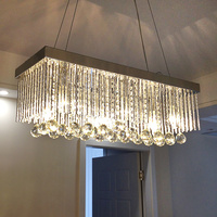 Rectangular Crystal Pendant Lamp LED Dining Pendant Lights Dining Room Ceiling Lamp Creative Dining Room Lighting