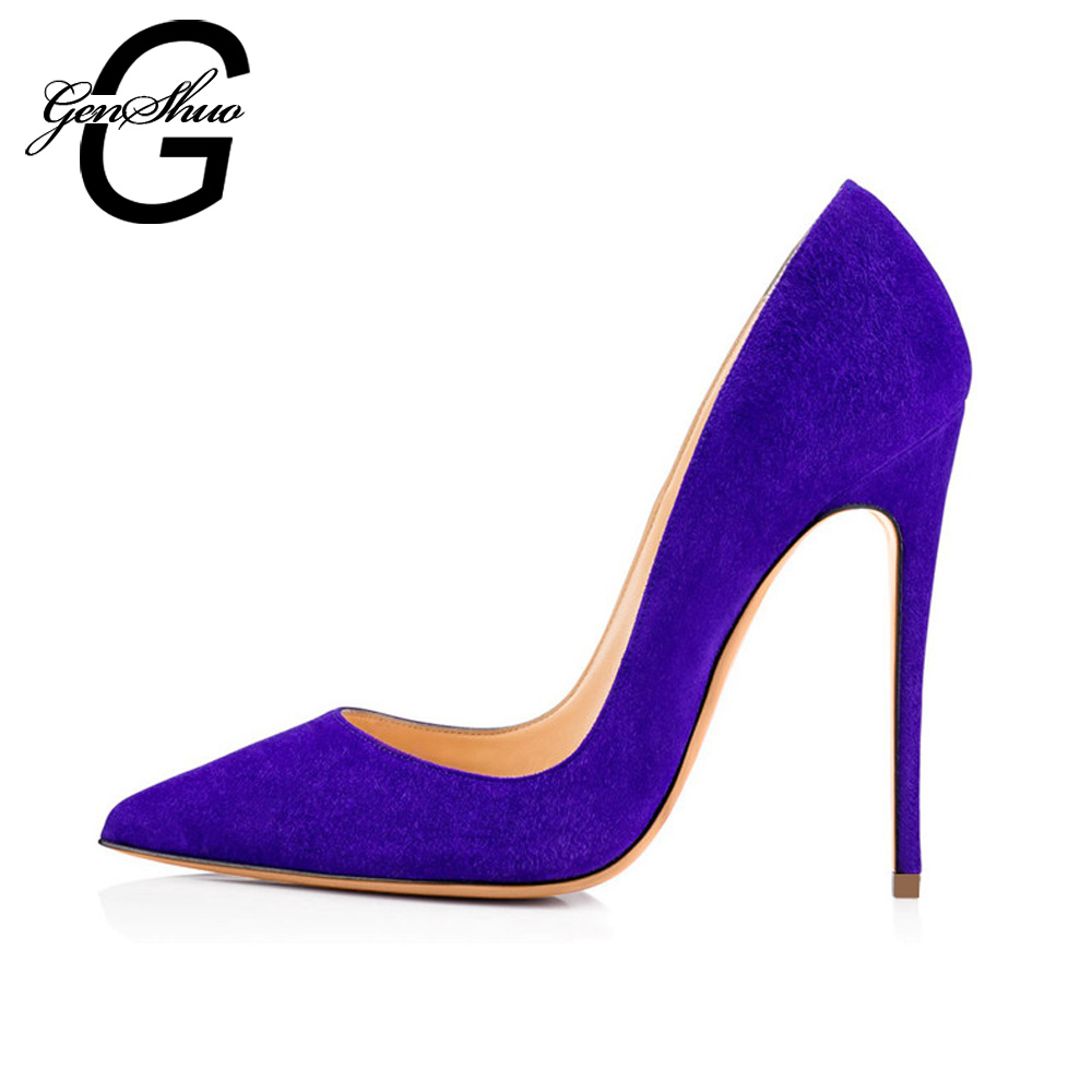 GENSHUO Women High Heel Shoes Pumps Lady Sexy Pointed Toe Wedding Shoes Lavender Faux Suede Stiletto Heels Dress Wedding Shoes genshuo 2017 women sexy valentine pointed toe stiletto high heels shoes ladies wedding dress bridal designer pumps zapatos mujer