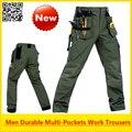 Alta Calidad de Los Hombres de Trabajo Duradero multi-bolsillos pantalón de trabajo al aire libre pantalones de carga con bolsillos desmontables envío libre
