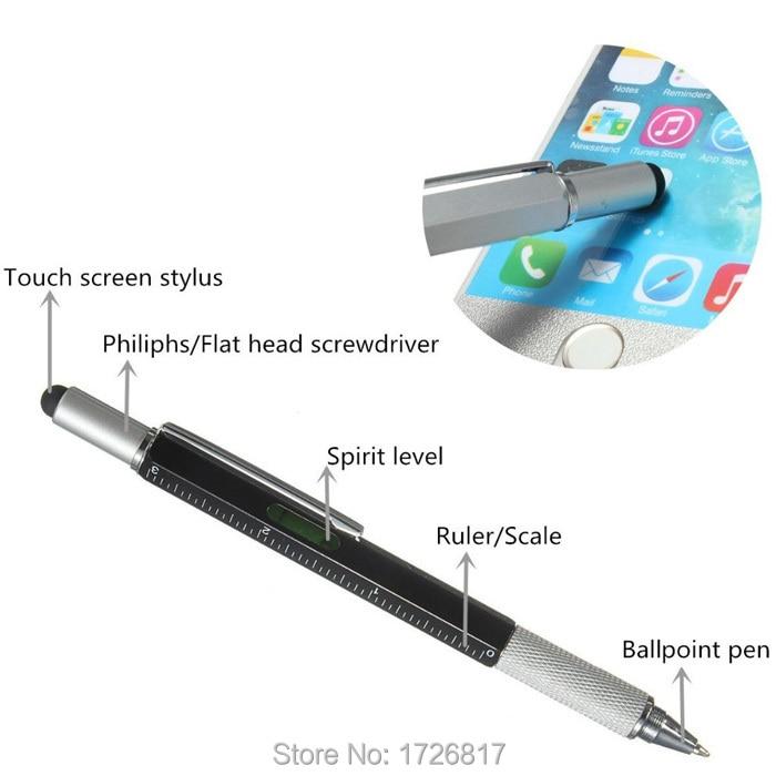 1 pcs Modern Design Overvalue Handy Tech Tool Ballpoint Pen Screwdriver Ruler Spirit Level Multifunction Gift free shipping