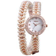 WEIQIN Original Fashion Pearl Bracelet Band Wristwatches For Women Outdoor Vintage Lady Watch Crystal Diamond Luxury Reloj Mujer