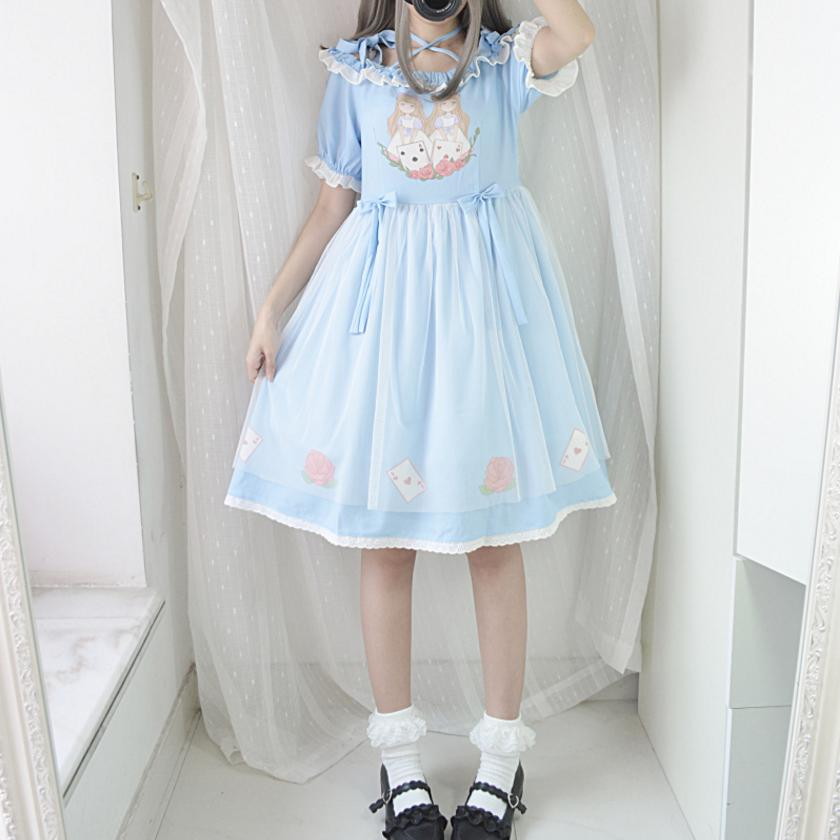 Japanese cute lolita A-line dress female 2018 summer new character pattern high waist o-neck sweet and fresh dress L779wholesale