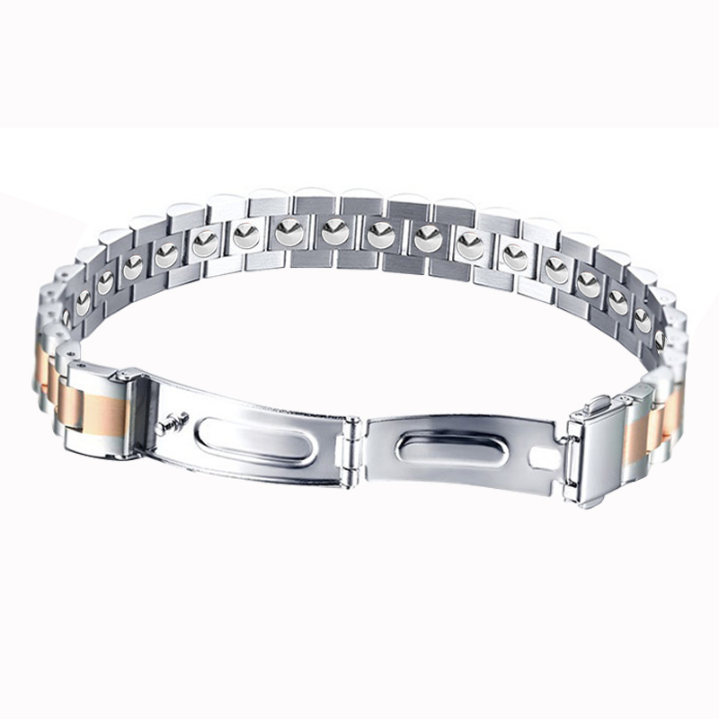 LITTLE FROG Simple Style 19 pcs 99.9999% Pure Germanium Bracelet For Women Health Rose Gold Color 316L Stainless Steel Bangles