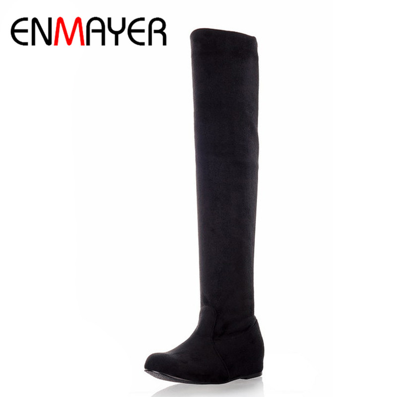 ENMAYER Long Boots Winter Shoes Woman Flats Plus Size 34-47 Sexy Leopard Over-the-knee Boots Womens Slip-on Warm Shoes Round Toe enmayer sexy red shoes woman high heels bowties charms size 34 47 zippers round toe winter over the knee boots platform shoes page 6