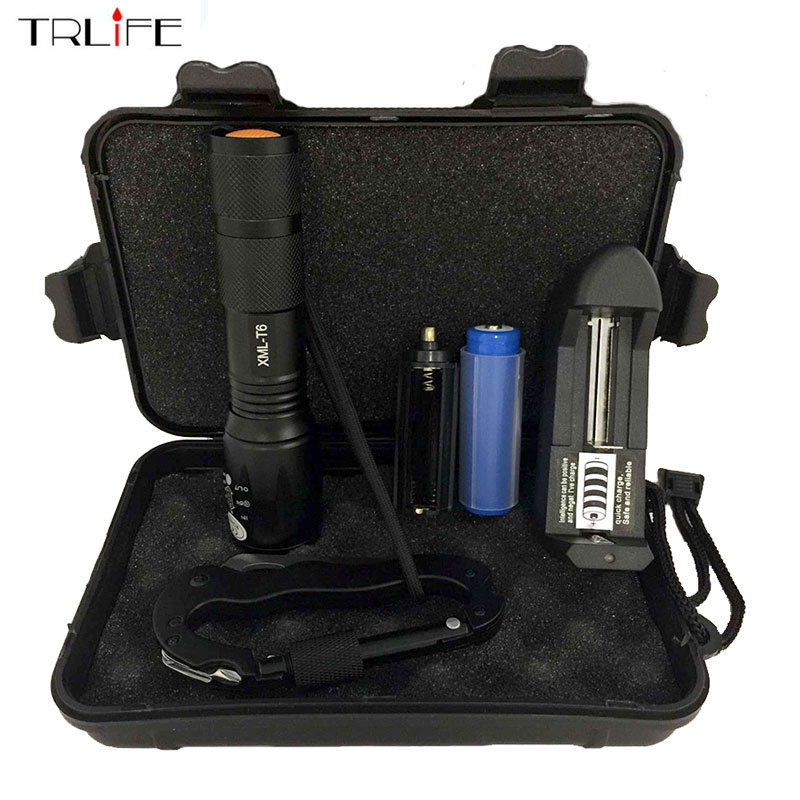 Portable 8000LM Tactical CREE XM-T6 LED Flashlight 5 Modes Torch for Hiking Camping Free 5 in 1 Carabiner Tool new 7 in 1 multifunctional tool led flashlight camping hiking tool tool screwdriver daily tool torch lamp charging use 18650