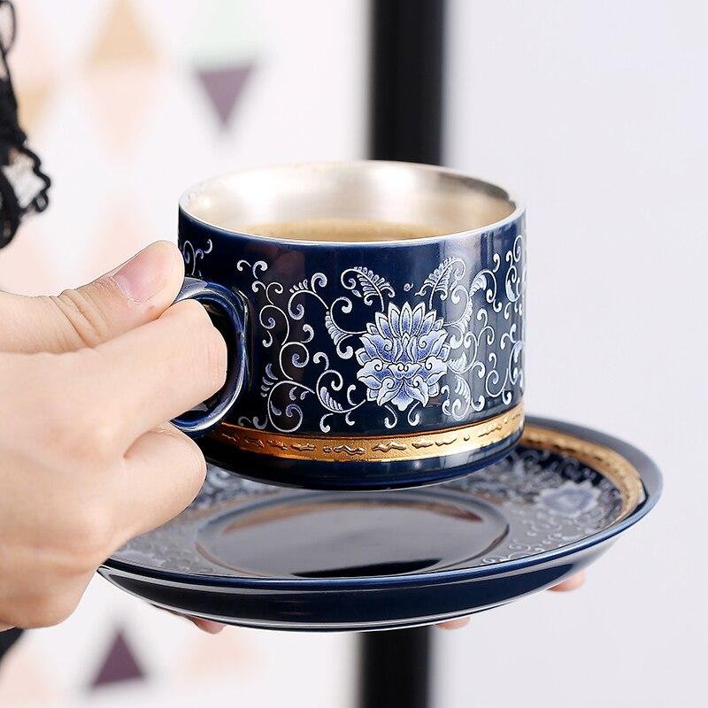 Cerámica S999 plata esterlina taza de café taza plato creativo regalo pareja taza viaje Oficina hogar jugo taza - 6