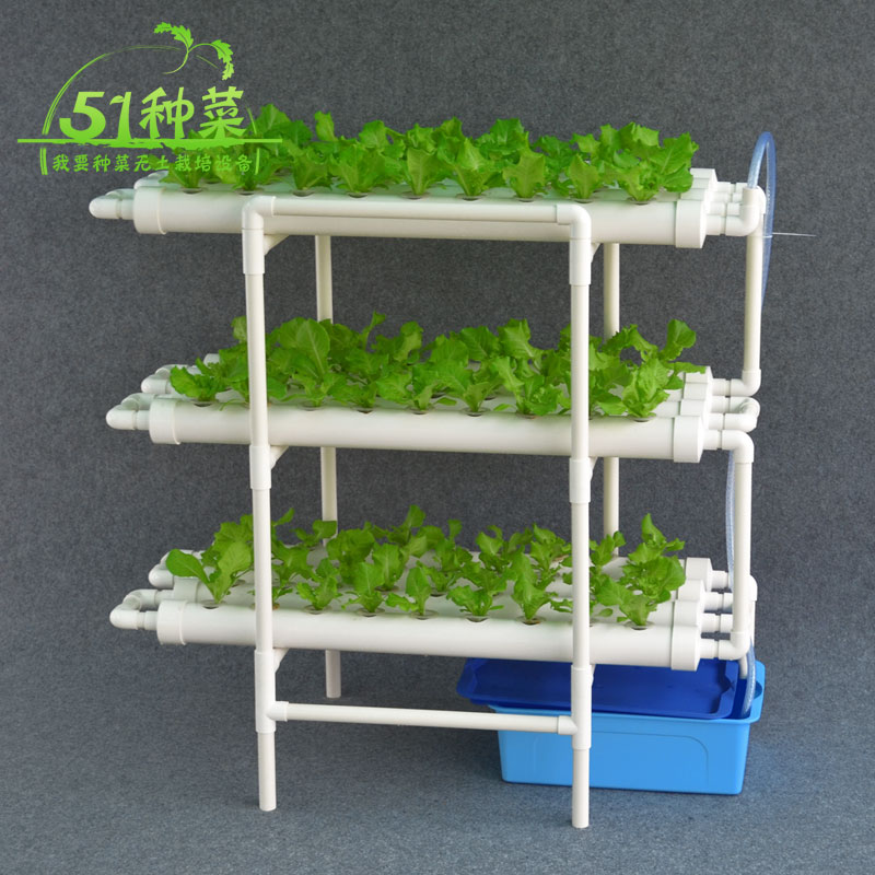 Hydroponics system NFT with 108pcs of net cup. Nutrient Film Technique (NFT) image