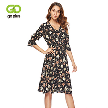 GOPLUS Boho Floral Print Chiffon Dress Women Sexy Deep V Neck Flare Sleeve Midi Dress Ladies 2019 Spring Elegant Vestidos Female
