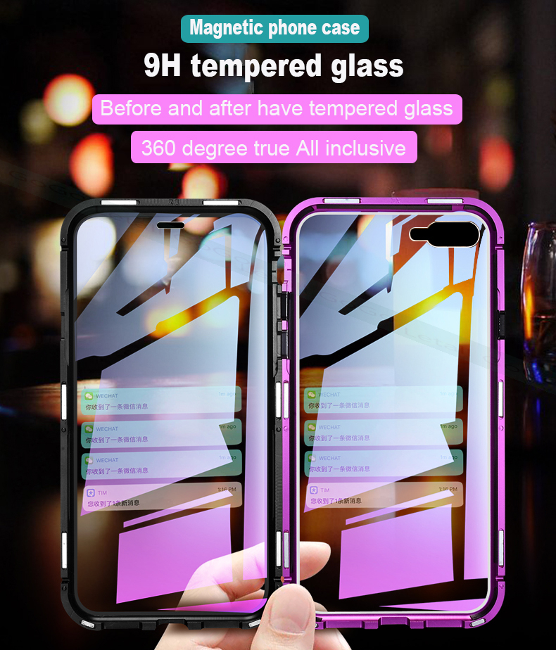 Magnetic clear  tempered glass Metal phone cover case  (5)