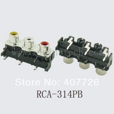 (2PCS/PACK) RCA Jack Connector Female Audio/video Jack Three Hole RCA-314PB (yellow+white+red)