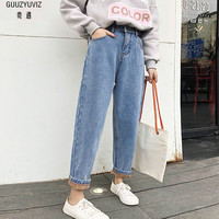 GUUZYUVIZ Casual Jeans Woman 2018 Velvet High Waist Jeans Women Plus Size Jeans Mujer Warm Cotton Denim Harem Pants Femme