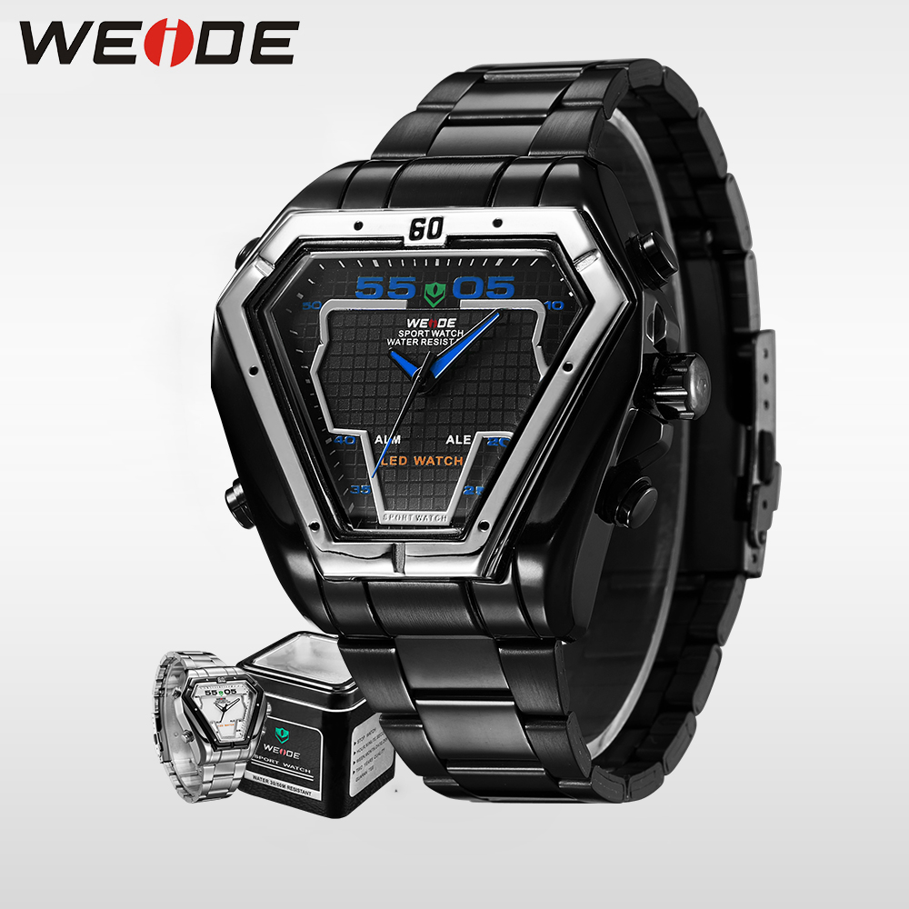 WEIDE luxury LED Watch Men Sports Alarm Clock Analog Digital 3ATM Waterproof Japan Quartz Movement Full Stainless Steel Watches weide high quality watch men luxury brand big dial 3atm water resistant stainless steel back lcd wristwatches with alarm items